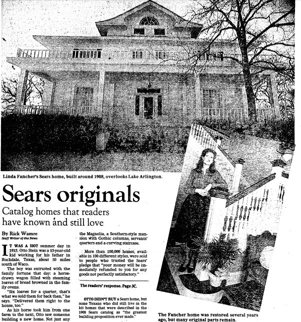 Sears Originals: Catalog Homes That Readers Have Known and Still Love, Dallas Morning News newspaper article 27 February 1982