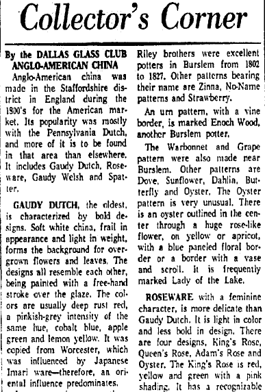 article about Gaudy Dutch pottery, Dallas Morning News newspaper article 8 March 1965