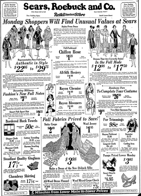 full-page ad from Sears, Roebuck and Co., Dallas Morning News newspaper advertisement 27 September 1925