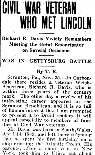Richard Davis: Civil War Veteran Who Met Lincoln, Druid newspaper article 1 December 1936