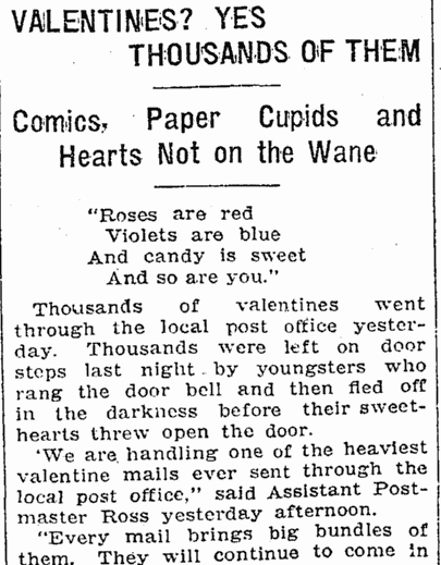 Valentines--Yes, Thousands of Them, Evansville Courier and Press newspaper article 14 February 1909