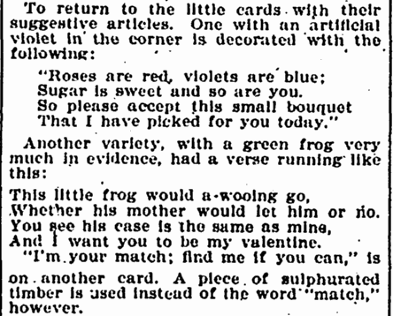 article about Valentine's Day cards, Evening Star newspaper article 11 February 1899