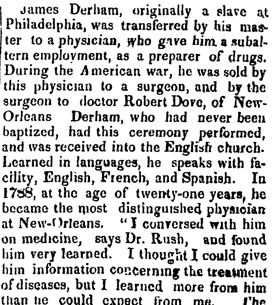 article about James Derham, Freedom's Journal newspaper article 14 November 1828