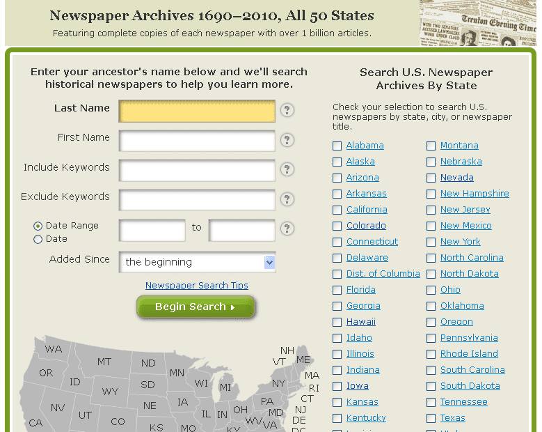 screenshot of GenealogyBank's newspaper search page