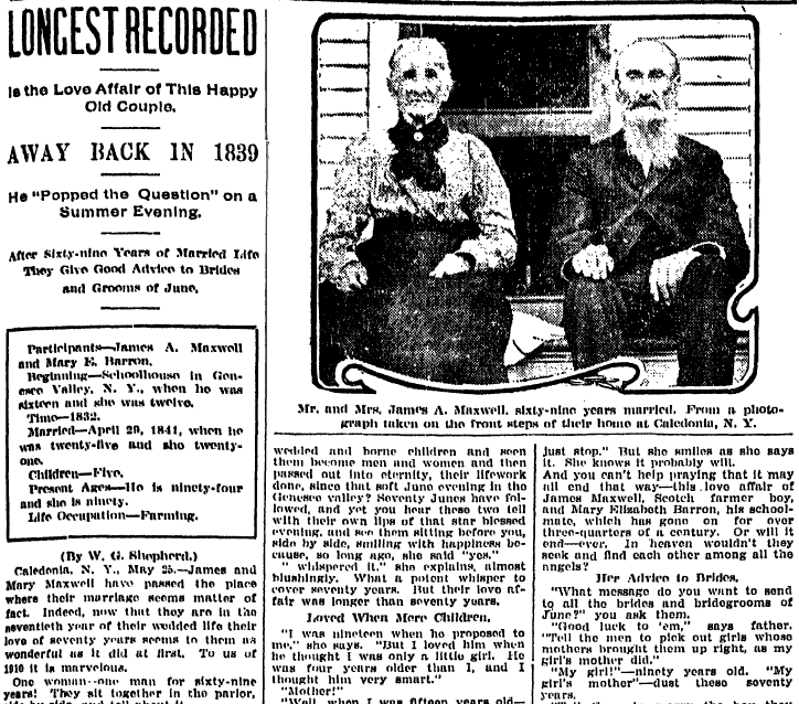 Longest Recorded Is the Love Affair of This Happy Old Couple (James and Mary Maxwell), Grand Rapids Press newspaper article 25 May 1910