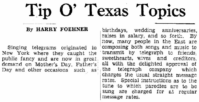 article about singing telegrams, Heraldo de Brownsville newspaper article 31 August 1938