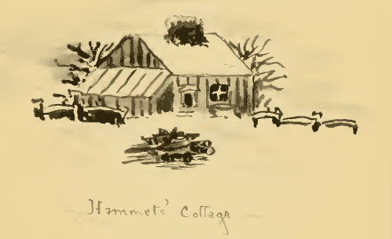 "drawing of Hammet Achmet's cottage, from Emilie Stedman's book, ""Hammet Achmet, a Servant of George Washington"""