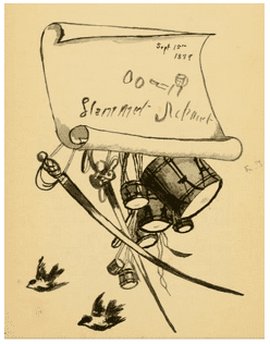"""drawing of a drum and swords from Emilie Stedman's book, """"Hammet Achmet, a Servant of George Washington"""""""