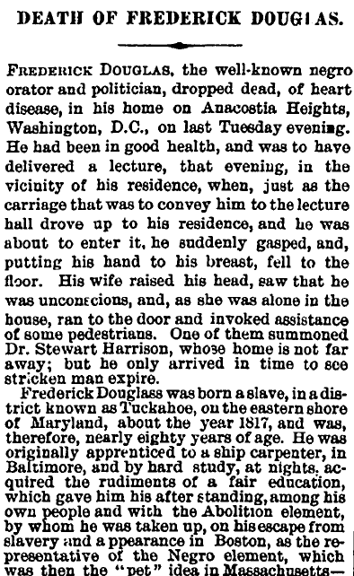 Death of Frederick Douglass, Irish American Weekly newspaper obituary 25 February 1895