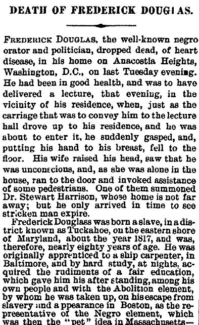Death of Frederick Douglass, Irish American Weekly newspaper obituary 25 February 1895
