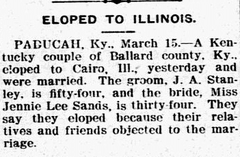 Eloped (J. A. Stanley and Jennie Lee Sands) to Illinois, Lexington Herald newspaper article 16 March 1905