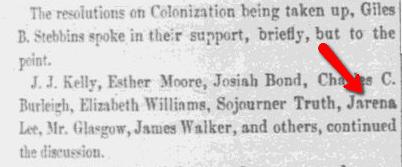 article about Jarena Lee, Liberator newspaper article 9 December 1853