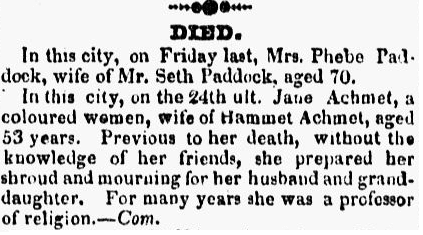 obituary for Jane Achmet, Middlesex Gazette newspaper article 2 May 1827