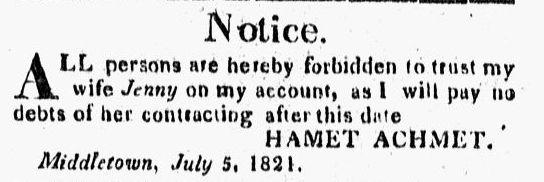 ad placed by Hamet Achmet warning he would not pay his wife's debts, Middlesex Gazette newspaper advertisement 5 July 1821