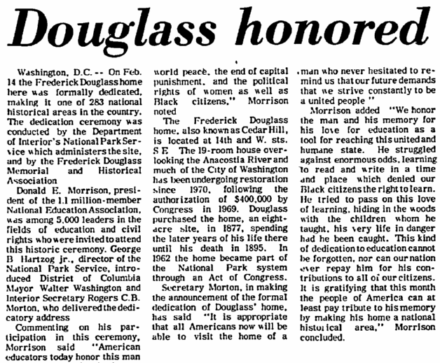 (Frederick) Douglass Honored, Milwaukee Star newspaper article 24 February 1972