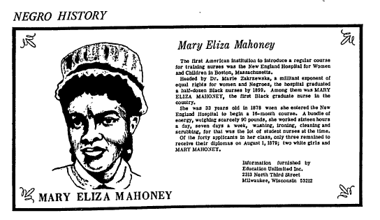 article about Mary Eliza Mahoney, Milwaukee Star newspaper article 13 July 1968