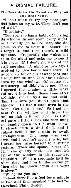 article about a practical joke a husband pulled on his wife, Morning Olympian newspaper article 13 December 1900
