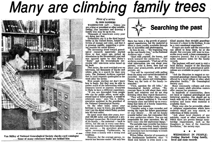 Many Are Climbing Family Trees, Morning Star newspaper article 19 April 1977