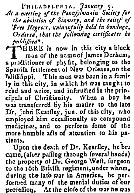 article about James Derham, New-Hampshire Spy newspaper article 3 February 1789