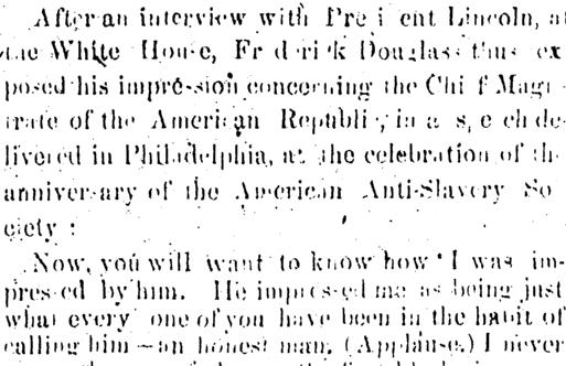 article about Frederick Douglass meeting President Abraham Lincoln, New Orleans Tribune newspaper article 26 July 1864