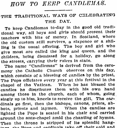 How to Keep Candlemas, New York Tribune newspaper article 2 February 1898