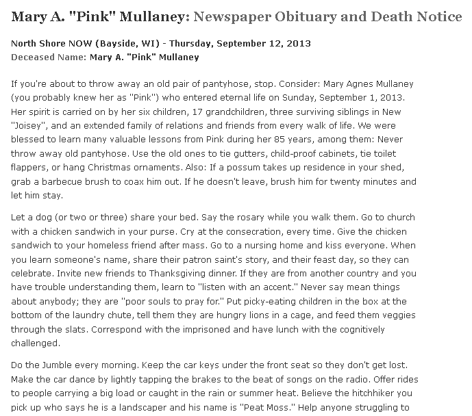 obituary for Mary Mullaney, North Shore Now newspaper article 12 September 2013