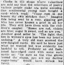 article about Valentine's Day cards, Omaha World Herald newspaper article 14 February 1907