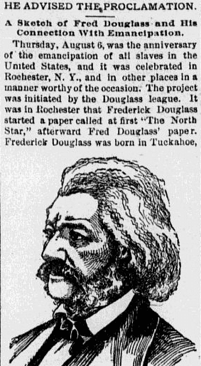 He (Frederick Douglass) Advised the (Emancipation) Proclamation, Omaha World Herald newspaper article 7 August 1891