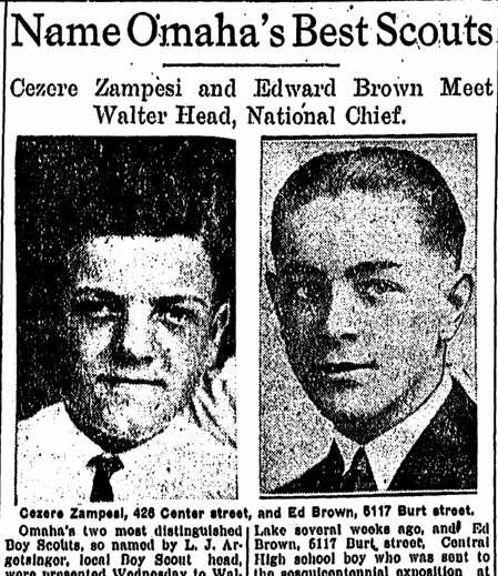 Named Omaha's Best (Boy) Scouts (Cezere Zampesi and Edward Brown), Omaha World Herald newspaper articles 26 August 1926