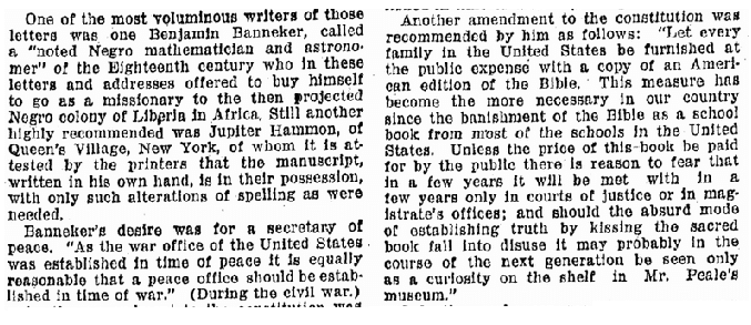 article about Benjamin Banneker, Omaha World Herald newspaper article 29 August 1926