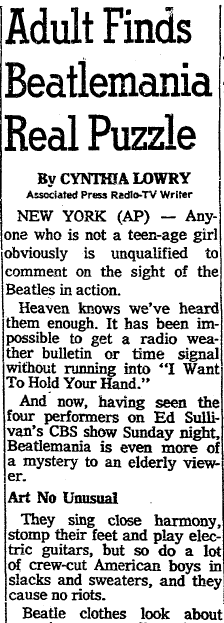 Adult Finds Beatlemania Real Puzzle, Oregonian newspaper article 11 February 1964