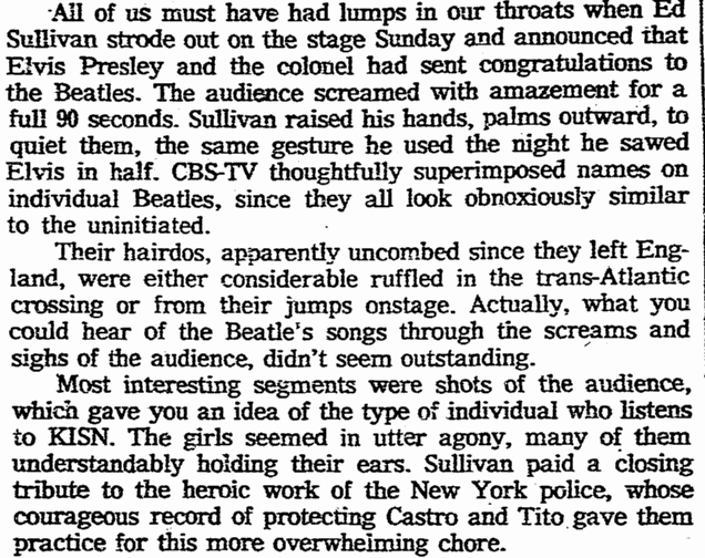 review of the Beatles' appearance on the Ed Sullivan Show, Oregonian newspaper article 11 February 1964