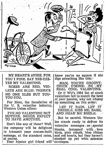 article about Valentine's Day telegrams, Oregonian newspaper article 12 February 1954