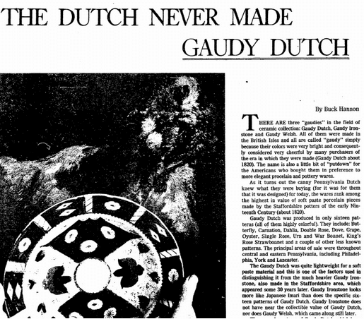 The Dutch Never Made Gaudy Dutch (Pottery), Oregonian newspaper article 19 November 1978