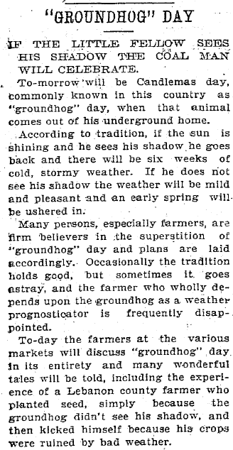 Groundhog Day, Patriot newspaper article 1 February 1902