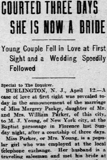 Courted Three Days, She (Margery Parker) Is Now a Bride, Philadelphia Inquirer newspaper article 13 April 1905