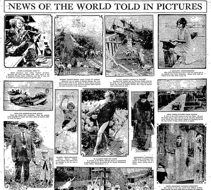 News of the World Told in Pictures, Philadelphia Inquirer newspaper article 9 August 1922
