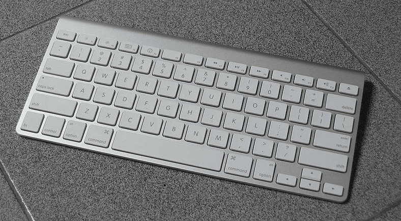 photo of a wireless keyboard for an Apple computer