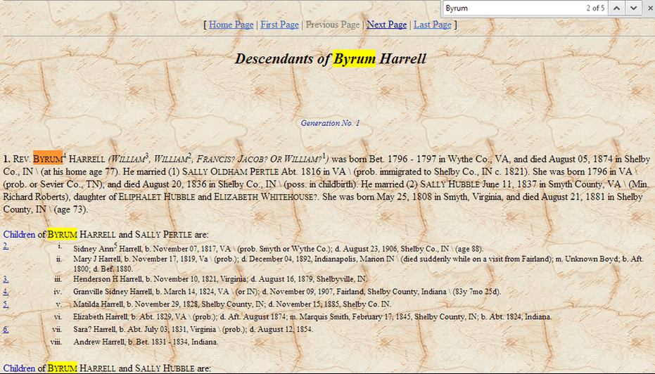 photo of a webpage with text highlighted, demonstrating the find feature