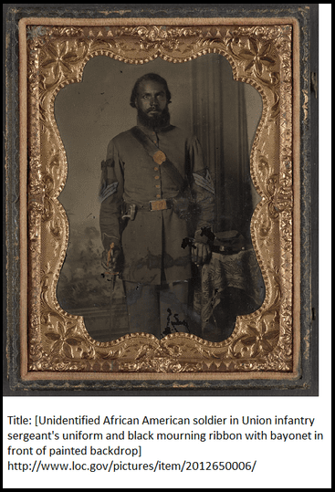 photo of an African American sergeant in the Union army during the Civil War