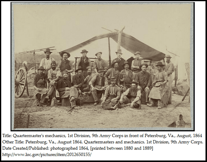 photo of quartermaster's mechanics in the Union army during the Civil War