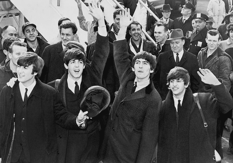 photo of the Beatles arriving in America 7 February 1964