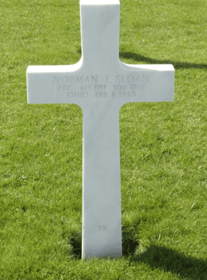photo of the gravestone of Pfc. Norman James Sloan, Henri-Chapelle American Cemetery, Belgium