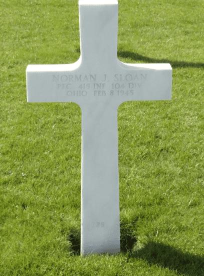 photo of the gravestone of Pfc. Norman James Sloan, Henri-Chapelle American Cemetery, Belgium
