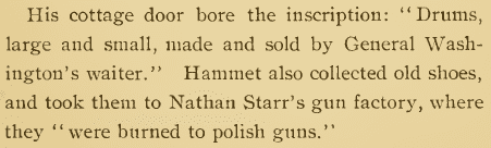 "text from Emilie Stedman's book, ""Hammet Achmet, a Servant of George Washington"""