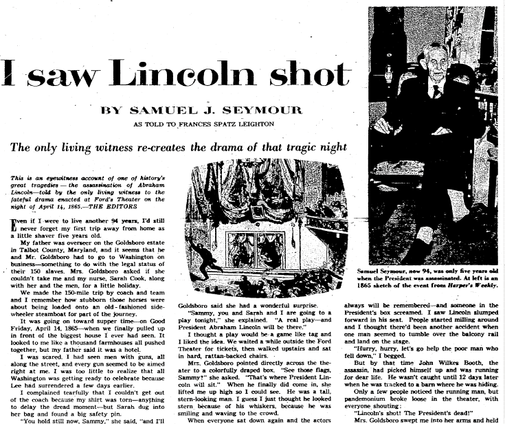 I Saw Lincoln Shot, Plain Dealer newspaper article 7 February 1954