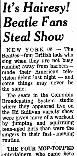 Beatle Fans Steal Show, Plain Dealer newspaper article 10 February 1964