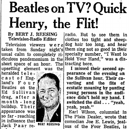 Beatles on TV, Plain Dealer newspaper article 11 February 1964