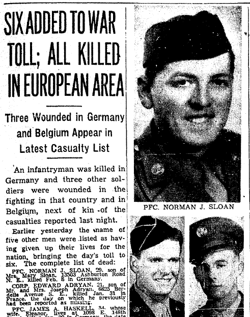 obituary for Norman Sloan, Plain Dealer newspaper article 22 February 1945