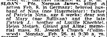 obituary for Norman Sloan, Plain Dealer newspaper article 25 February 1945